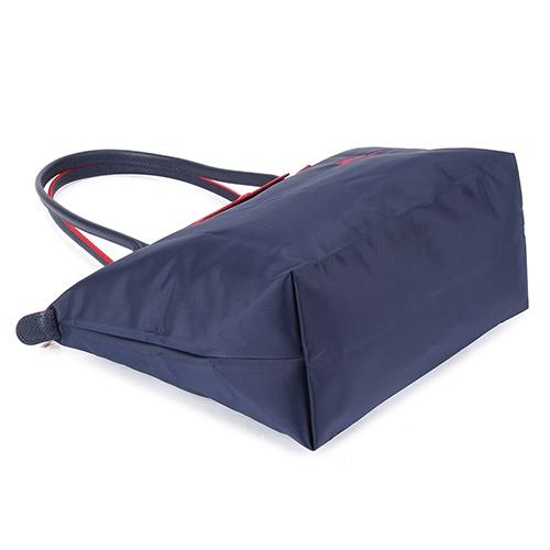 Longchamp 2605 LE PLIAGE 奔馬刺繡長提把小型尼龍摺疊水餃包(海軍藍-含帕巾)480208-556