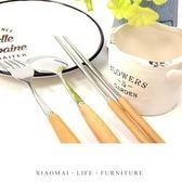~小麥 ~原木不鏽鋼餐具日式原木~Y292 ~木柄叉子湯匙筷子盒裝套裝