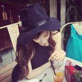 紳士帽 夏季新品女士休閒沙灘爵士帽黑色大沿檐遮陽防曬編織禮帽女夏 2色
