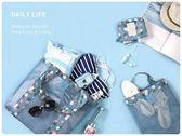 【花色網格袋大號】韓系沙灘防水尼龍手提袋 旅行袋 網格側背包 手提包 單肩包 沙灘袋