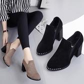 女靴子秋新款2020馬丁靴短靴粗跟高跟靴絨面低幫鞋女鞋單靴短靴