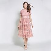 短袖連身裙-鏤空蕾絲修身優雅女洋裝3色74ae20[巴黎精品]