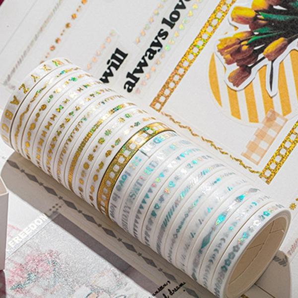 【BlueCat】AGUGU燙金極細盒裝和紙膠帶(10卷裝) 貼紙 手帳 紙膠帶 和紙