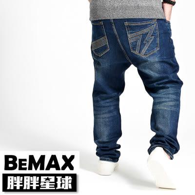 【胖胖星球】中大尺碼‧洗舊刷色抓破牛仔褲 38~54腰‧加大【68063】
