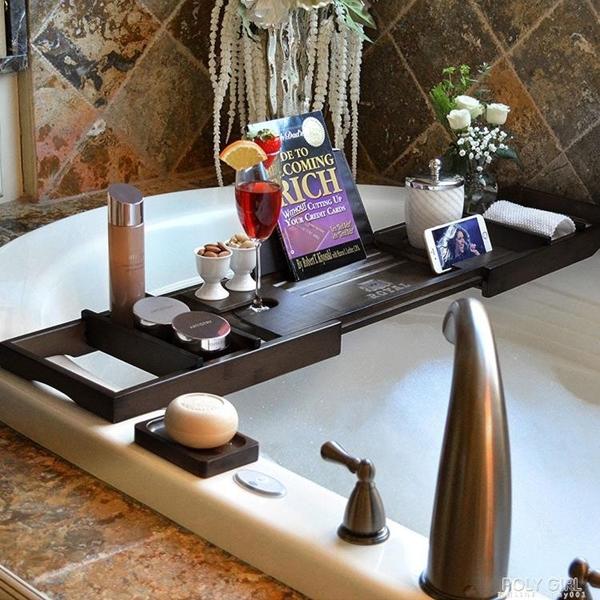 浴缸架伸縮防滑歐式多功能泡澡手機架子置物板棕色出口浴缸置物架