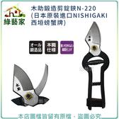 【綠藝家】木助鍛造剪錠鋏N-220(日本原裝進口NISHIGAKI西垣螃蟹牌)
