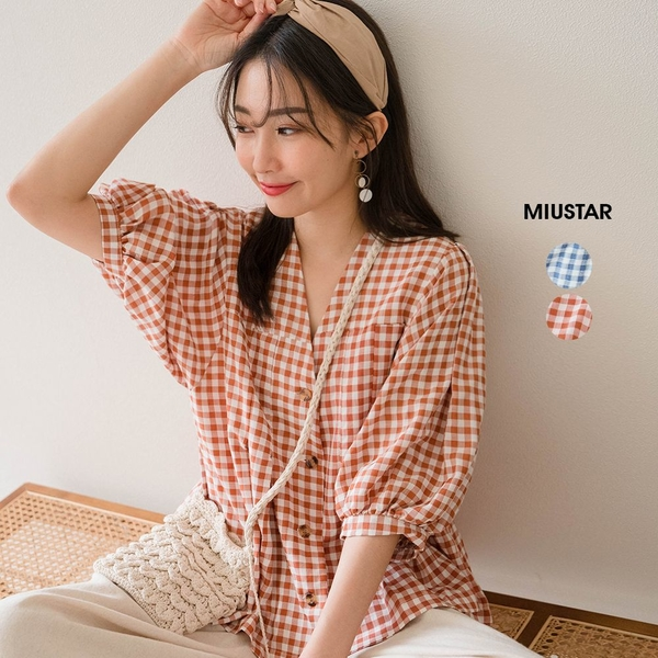MIUSTAR 燈籠袖壓褶排釦傘襬格紋娃娃上衣(共2色)【NJ2002】預購