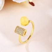 戒指 925純銀 琥珀-時尚氣質生日情人節禮物女開口戒73ga2【時尚巴黎】