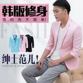 西裝外套 中袖西服韓版新款上衣男士單西外套七分袖夏季個性潮流小西裝薄男 芭蕾朵朵