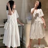 孕婦洋裝 孕婦連身裙夏裝套裝新款上衣夏季小清新時尚歐美風中長款夏天裙子 萊俐亞