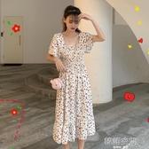 夏季2020新款法式復古碎花雪紡洋裝女夏氣質收腰顯瘦中長款裙子 韓語空間