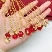全館83折 新款仿越南沙金項鍊女 久不掉色鍍金微鑲紅寶石吊墜 仿金歐幣飾品