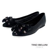 Tino Bellini絲帶蝴蝶結全真皮柔軟尖頭娃娃鞋_黑 VI8573