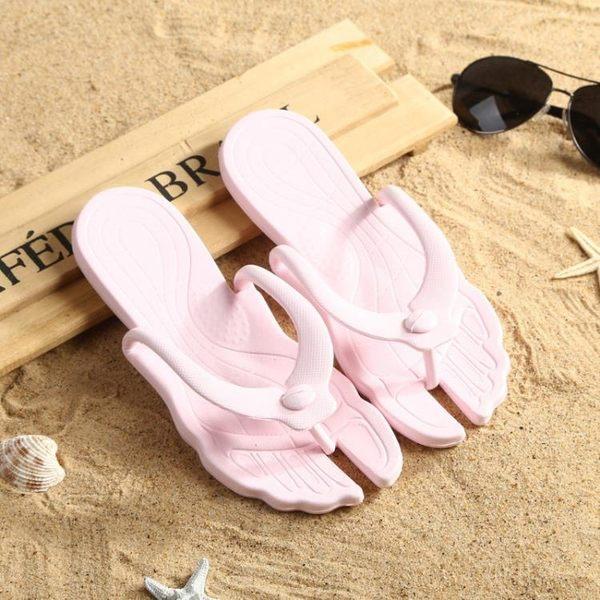 夏季旅行沙灘拖便攜浴室洗澡拖鞋折疊拆卸人字拖男女士情侶涼拖鞋yoki