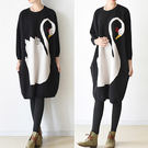 洋裝-天鵝印花加厚毛裙大碼蝙蝠袖羊毛/設計家