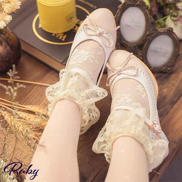 【NG現貨】配色圓點鏤空蝴蝶結繫踝粗跟鞋-Ruby s 露比午茶