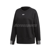 adidas 長袖T恤 Sweatshirt 黑 白 女款 大學T 圓領 運動休閒 【PUMP306】 ED5845