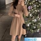 毛衣裙 針織連身裙女小個子2020秋冬新款韓版收腰顯瘦復古打底麻花毛衣裙 漫步雲端