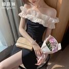 平口洋裝/一字領 露肩小禮服 小香風連身裙女夏季新款 性感一字領黑色氣質無袖中長裙子