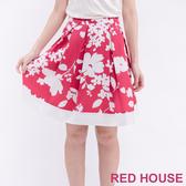 【RED HOUSE 蕾赫斯】滿版花朵打褶裙(紅色)