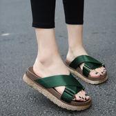 韓版新款休閒拖鞋女夏中跟外穿時尚涼拖厚底室外鬆糕鞋沙灘鞋      檸檬衣舍