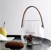 玻璃提手花瓶插花干花瓶水培水果收納玻璃罐【聚寶屋】