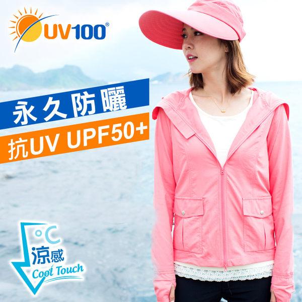 UV100涼感連帽防曬外套-口罩式雙頭拉練