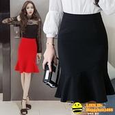 2020春夏新款提臀魚尾裙半身裙女大碼顯瘦包臀中長裙荷葉邊職業裙【happybee】