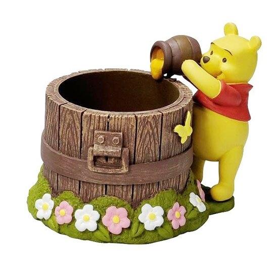 〔小禮堂〕迪士尼 小熊維尼 造型陶瓷筆筒收納筒《棕黃.倒蜂蜜》置物筒.刷具筒.擺飾 4945119-09006