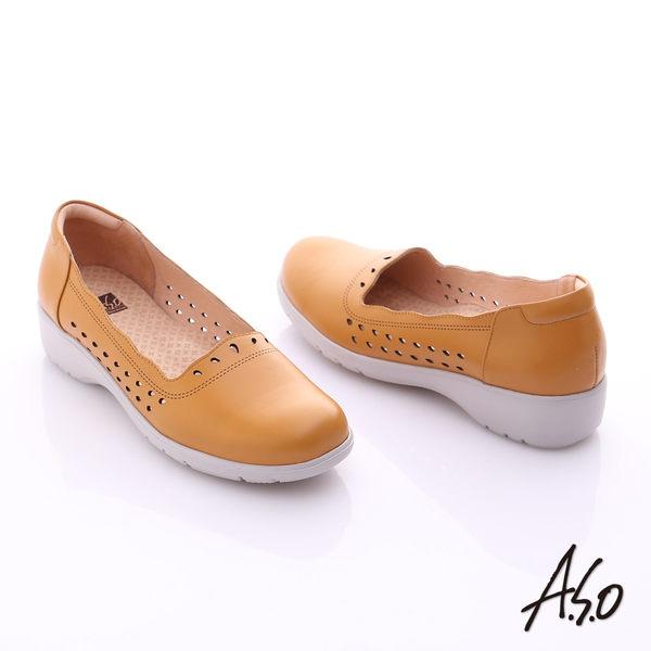 A.S.O 3E健康鞋 真皮水滴雕花寬楦奈米休閒鞋  茶