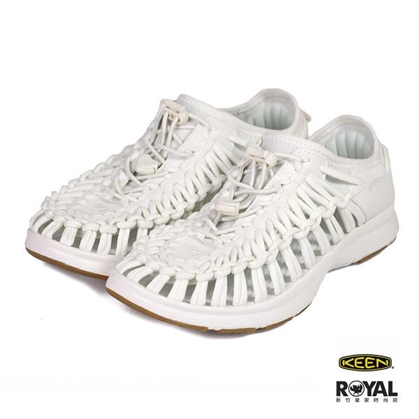 Keen 新竹皇家 白色 彈性編繩 運動 護趾涼鞋 女款 NO.I9532