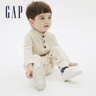 Gap嬰兒 時尚絞花織紋長袖針織包屁衣 592814-米色