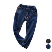 彈性鬆緊褲頭縮口牛仔褲 長褲 大童 牛仔褲 縮口褲 薄長褲 橘魔法 現貨 兒童 童裝 男童