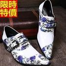 皮鞋真皮尖頭鞋典雅龐克風-特色骷髏配藍花時尚增高男鞋子65ai12【巴黎精品】