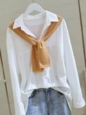 棉麻長袖 白色棉麻帶披肩襯衫女設計感小眾秋季長袖寬鬆襯衣上衣潮 芊墨左岸