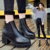 時尚短靴英倫風防水臺厚底鞋百搭粗跟馬丁靴女鞋