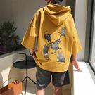 夏季短袖連帽大學T男T恤五分七分袖韓版潮流寬鬆學生丅中袖超火cec