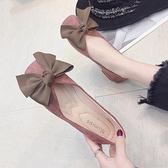 女鞋2019春季新款韓版百搭蝴蝶結方頭單鞋女仙女學生平底淺口瓢鞋
