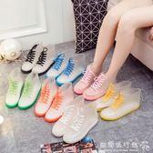 時尚雨鞋果凍加絨成人透明保暖雨靴膠鞋防水鞋防滑學生女短筒  歐韓流行館