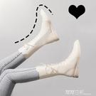 真皮白色靴子2020年新款馬丁靴女英倫風中筒靴短靴春秋單靴瘦瘦靴 露露日記
