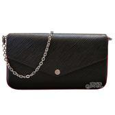 【Louis Vuitton 路易威登】M64579 Pochette Felicie EPI水波紋皮革鍊條斜背/手拿小包(黑X桃紅)