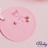 耳環 韓國直送‧水鑽珍珠不對稱矽膠耳鉤式耳環-Ruby s 露比午茶
