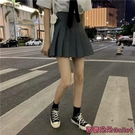 百褶裙 裙子學院風夏季高腰顯瘦黑色百褶裙女A字短裙春秋灰色半身裙-Ballet朵朵