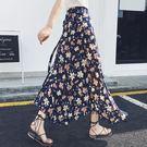 長裙 雪紡一片式中長款不規則碎花海半身裙