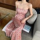 一字領洋裝 碎花法式小眾洋裝夏季新款氣質性感甜美開叉抹胸裙子女裝 - 歐美韓熱銷