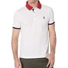 US Polo - 大馬領口和袖口對比色邊合身Polo衫(白色)