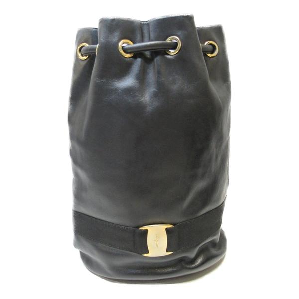 Salvatore Ferragamo 費拉格慕 黑色牛皮後背包Vara Bow Bucket Backpack【BRAND OFF】