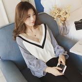 ZUCAS~(XA-9491)條紋拼接袖泡泡袖V領長袖毛衣針織衫襯衫
