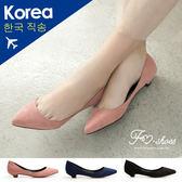 包鞋.都會OL絨質尖頭低跟包鞋-FM時尚美鞋-韓國精選.puresoul