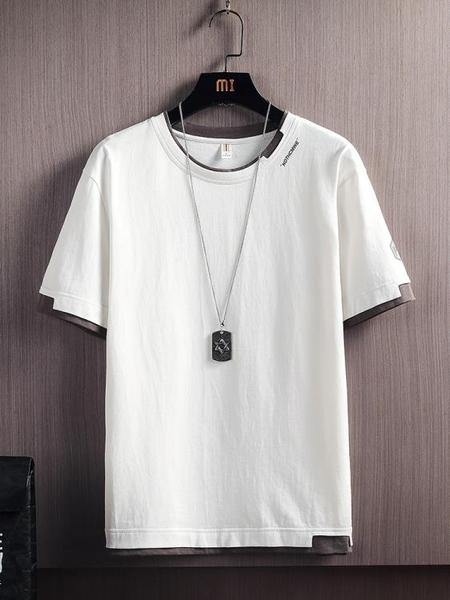 男士短袖T恤夏季潮流百搭半袖潮牌打底衫夏裝純棉體恤冰感上衣服